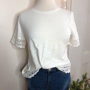 LOFT cream crochet trim tshirt top petite small